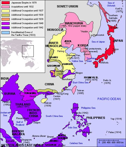 their concerns would supercede their pride over time as this map of the japanese empire clearly indicates japan formally occupied manchuria in 1931 and